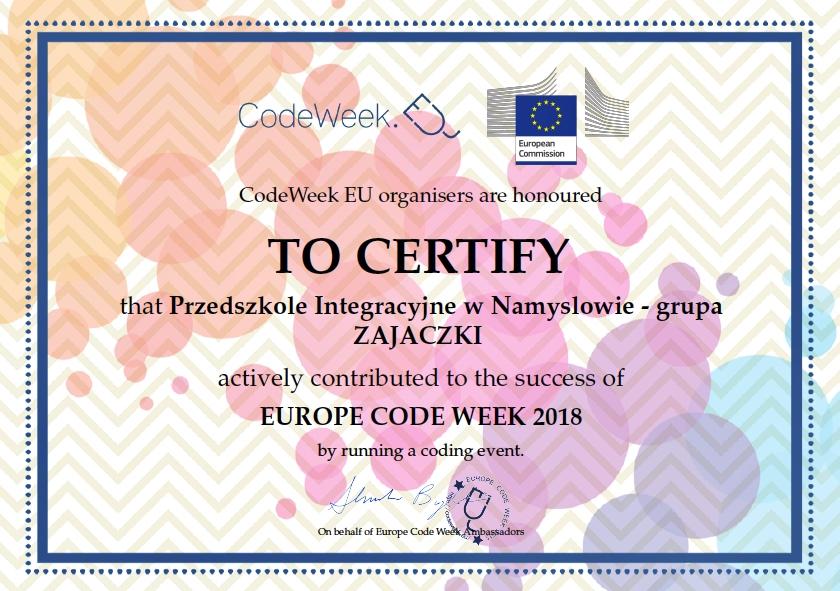 """""""Kodowanie na dywanie"""" – udział w CodeWeek EU 2018"""